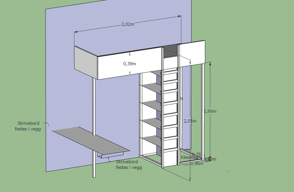 Planlagt kombinert loftsseng/klesskåp/bokhylle/skrivebordsmøbel i ...