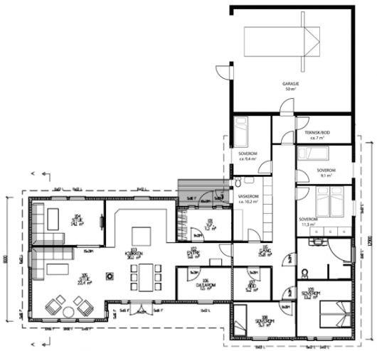 hus pa ett plan med 3 soverom