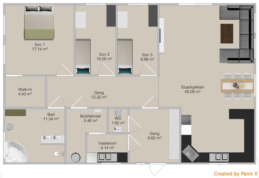 Ettplans hus, første utkast.   byggebolig.no