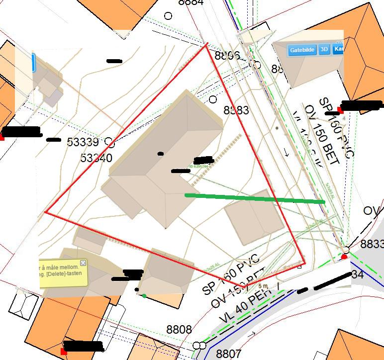 kart over vann og avløp Vann og avløpsplan   tilkoble avløp på nytt punkt for garasje og  kart over vann og avløp