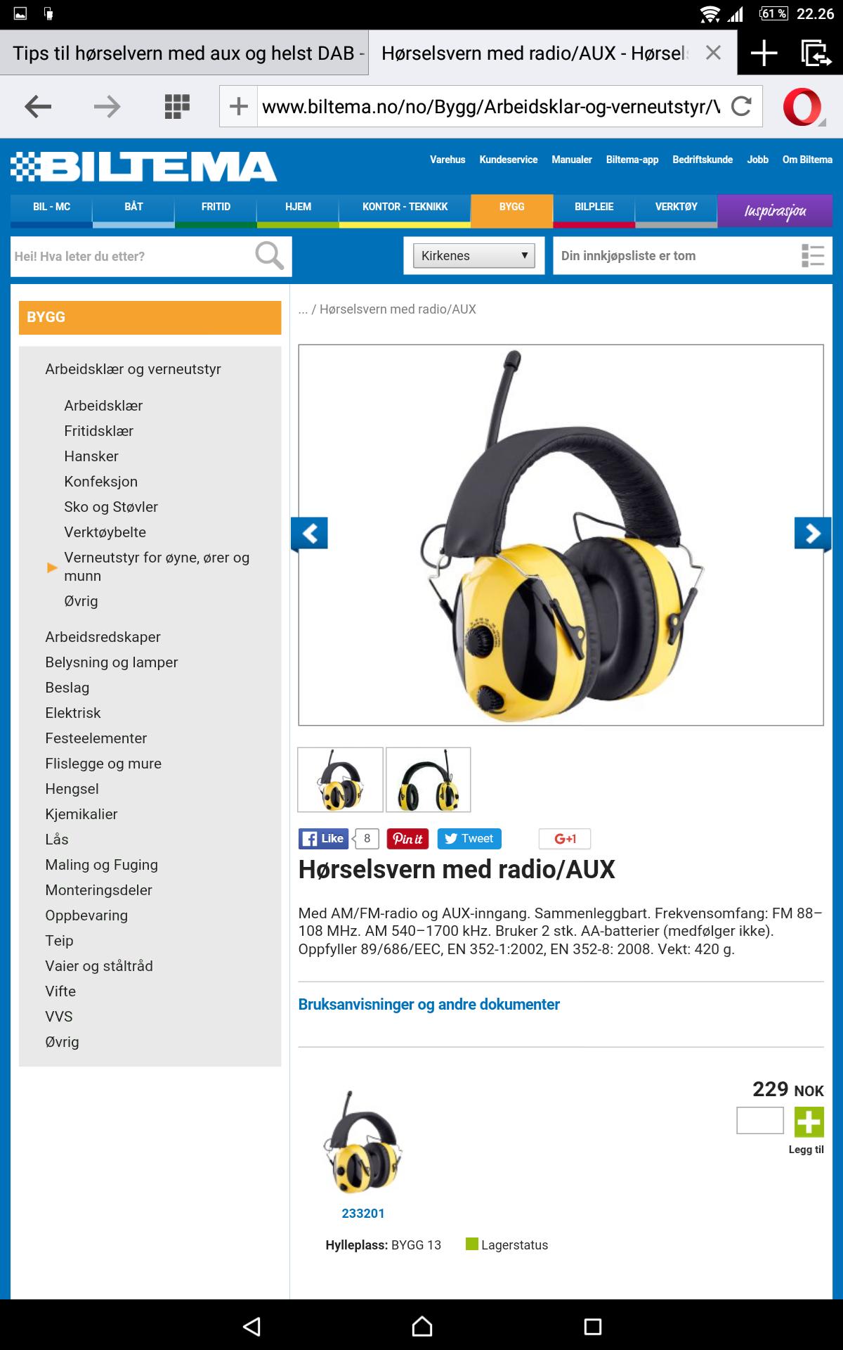 Unike Tips til hørselvern med aux og helst DAB - ByggeBolig VK-61
