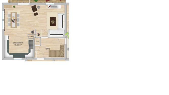 Planløsning stue og kjøkken i enebolig Hommelvik
