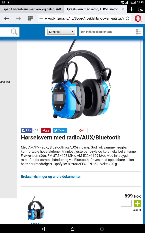 Ypperlig Tips til hørselvern med aux og helst DAB - ByggeBolig RQ-47