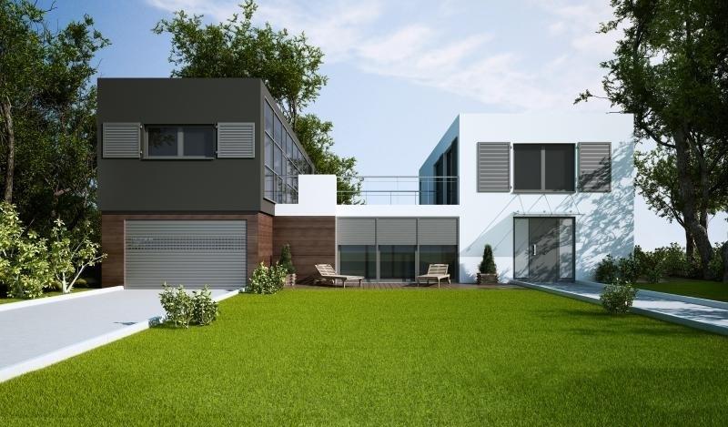 Bilde av moderne hus med aluminiumsvinduer